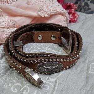 Bullhead leather belt, size 32